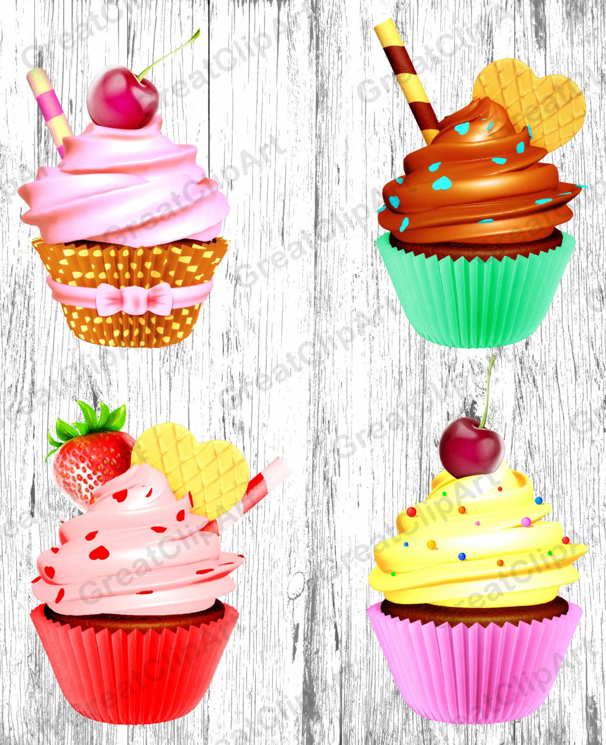 Muffin clipart colorful cupcake Digital clipart clipart clipart