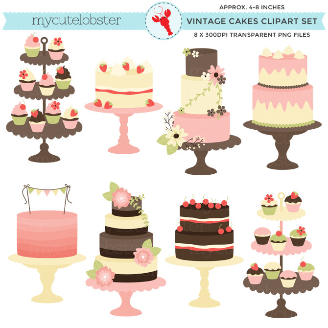 Cake clipart small cake Set Classic wedding Vintage cakes