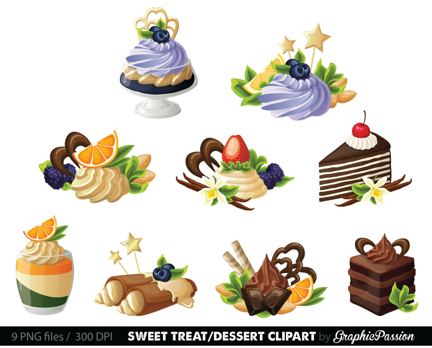 Pastry clipart sweet treat Dessert Clipart dessert collection Border