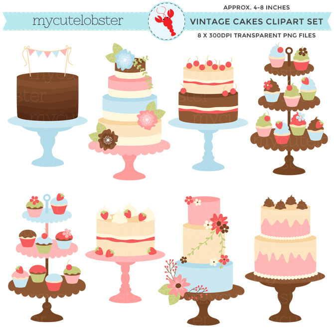 Wedding Cake clipart vintage cake Use use art Clipart commercial
