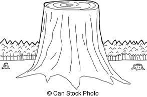 Destruction clipart black and white  Clip Tree Habitat Trunks
