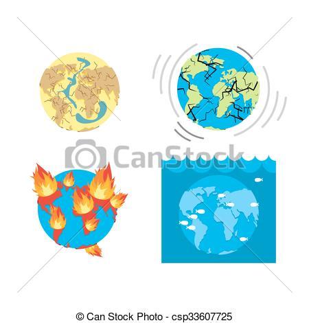 Destruction clipart catastrophe Earth ontinents crust Earth Vector