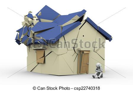 Destruction clipart destroyed house Man 3d destroyed csp22740318 Clipart