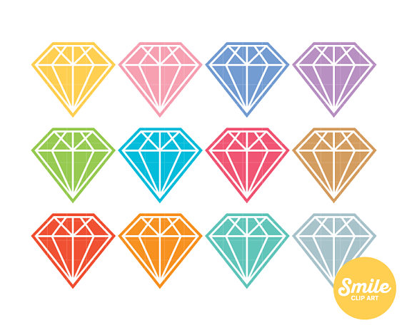 Diamond clipart colorful Clipart Etsy Use from Commercial