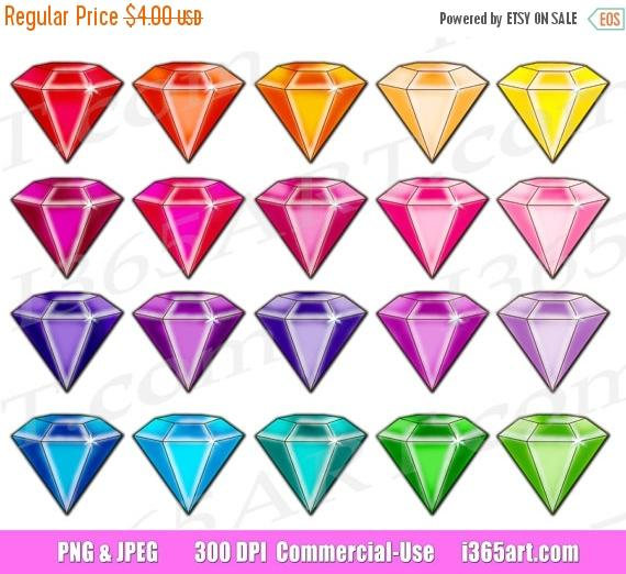 Diamond clipart colorful Rhinestones Etsy Gems Clip Gemstone