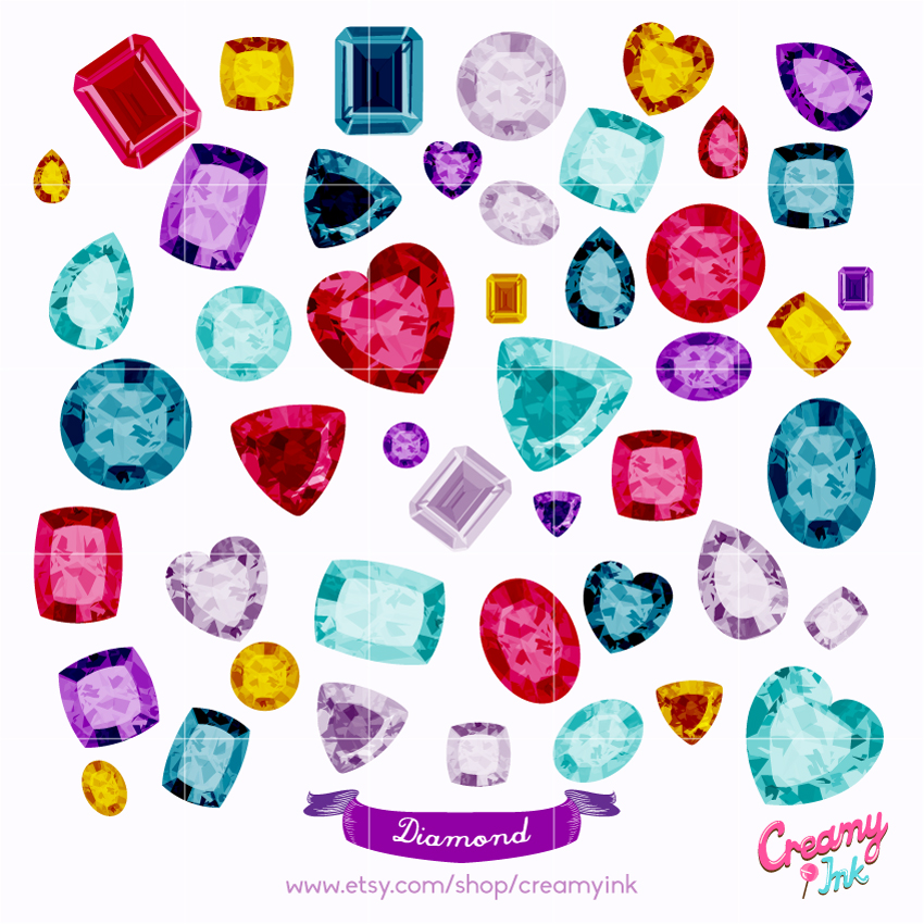 Diamond clipart different shape  Shining Clip Instant Shining