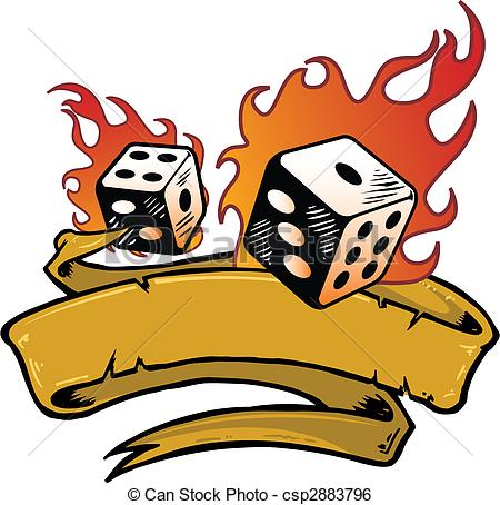 Dice clipart flames Banner Clip Flaming vector csp2883796