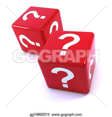 Dice clipart question mark Marks red render of 3d