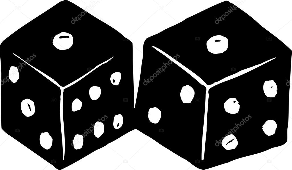 Dice clipart snake eye Woodcut Woodcut Showing  Vector