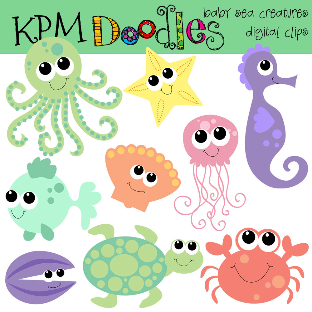 Sea Monster clipart orange Creatures bright  sea