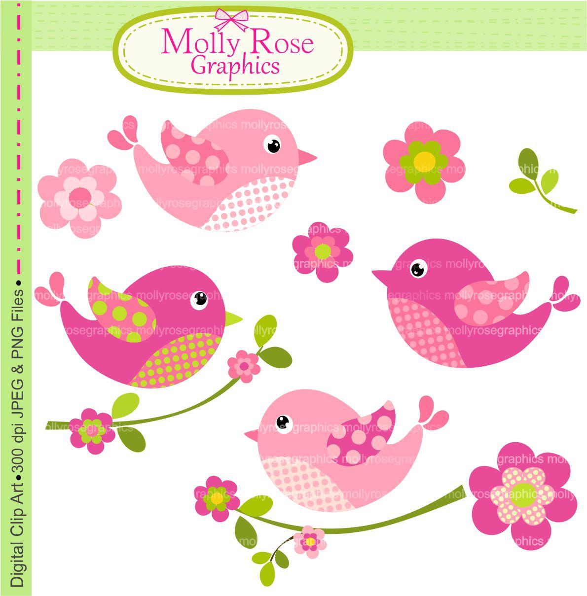 Brds clipart baby pink Digital  Birds Birds birds
