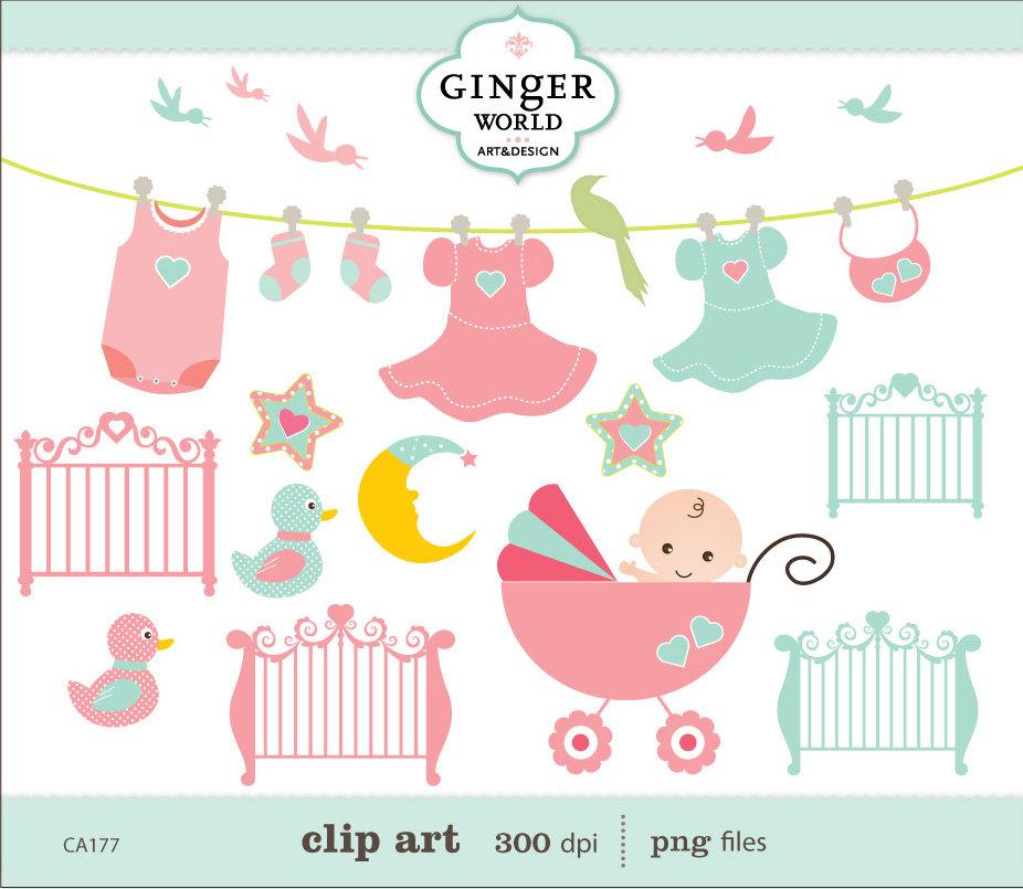 Bird clipart baby shower Shower birds Pink for illustration