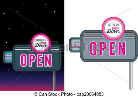 Neon Sign clipart diner Diner Cafe or Vector Restaurant