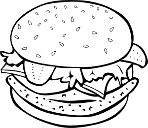 Burger clipart black and white Clip Fast  Menu Food