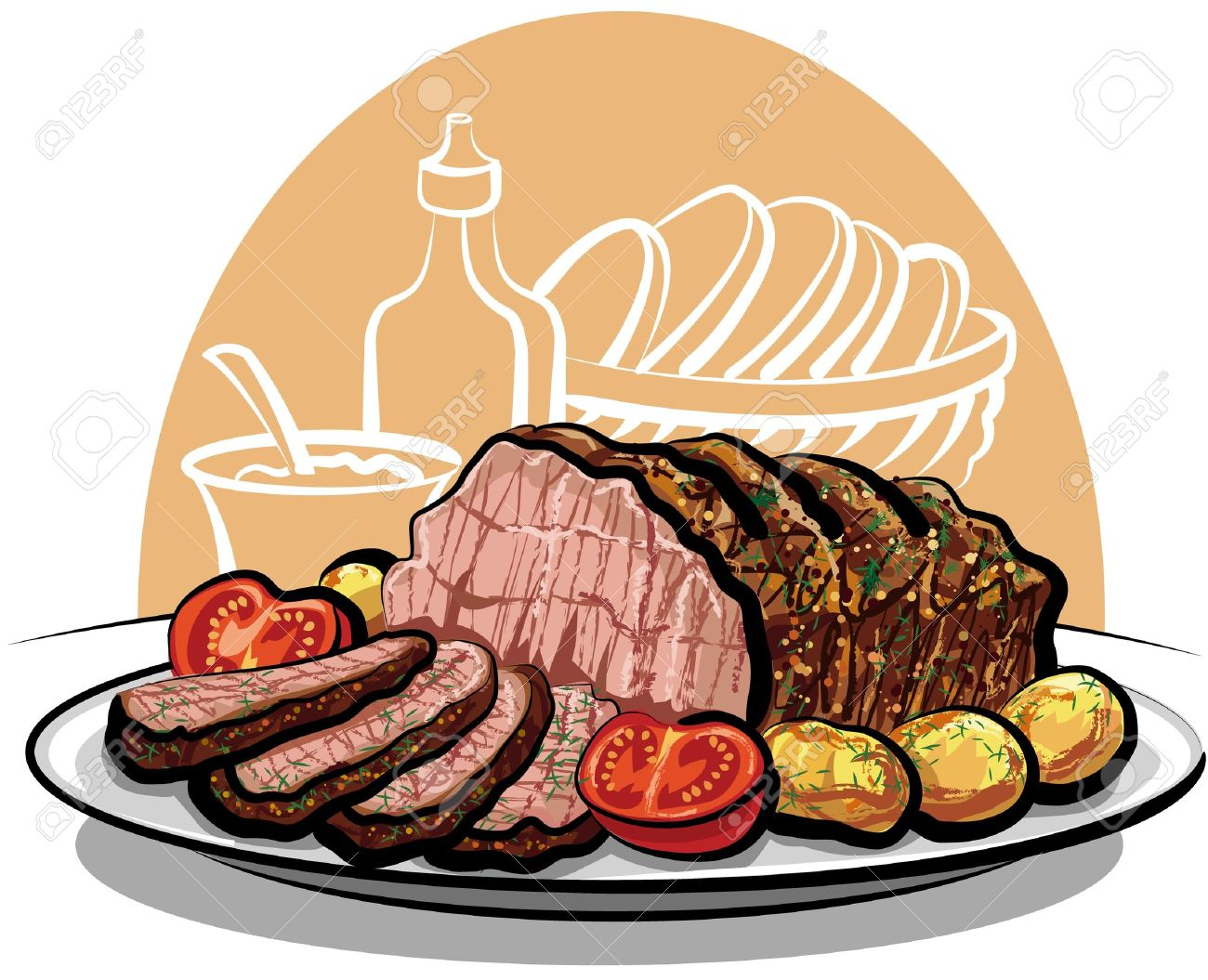 Beef clipart cooked meat Of beef Clipart roast dinner
