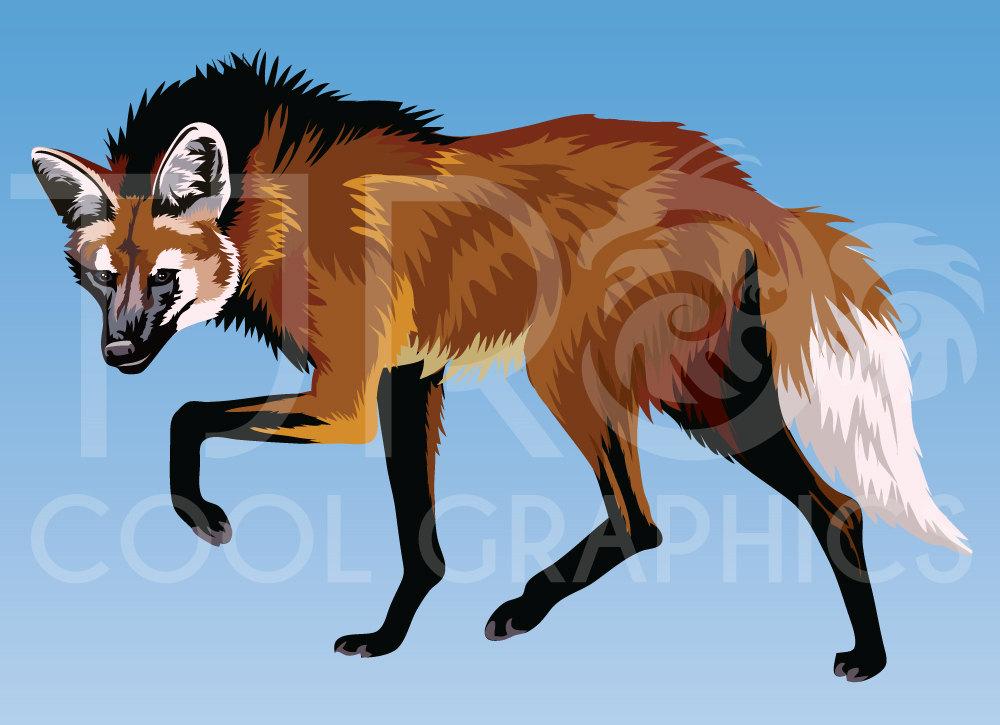 Wild Dog clipart Hyena Clipart Printable file Clip  Digital