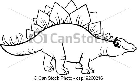 Stegosaurus clipart black and white Page of Vector  Vector