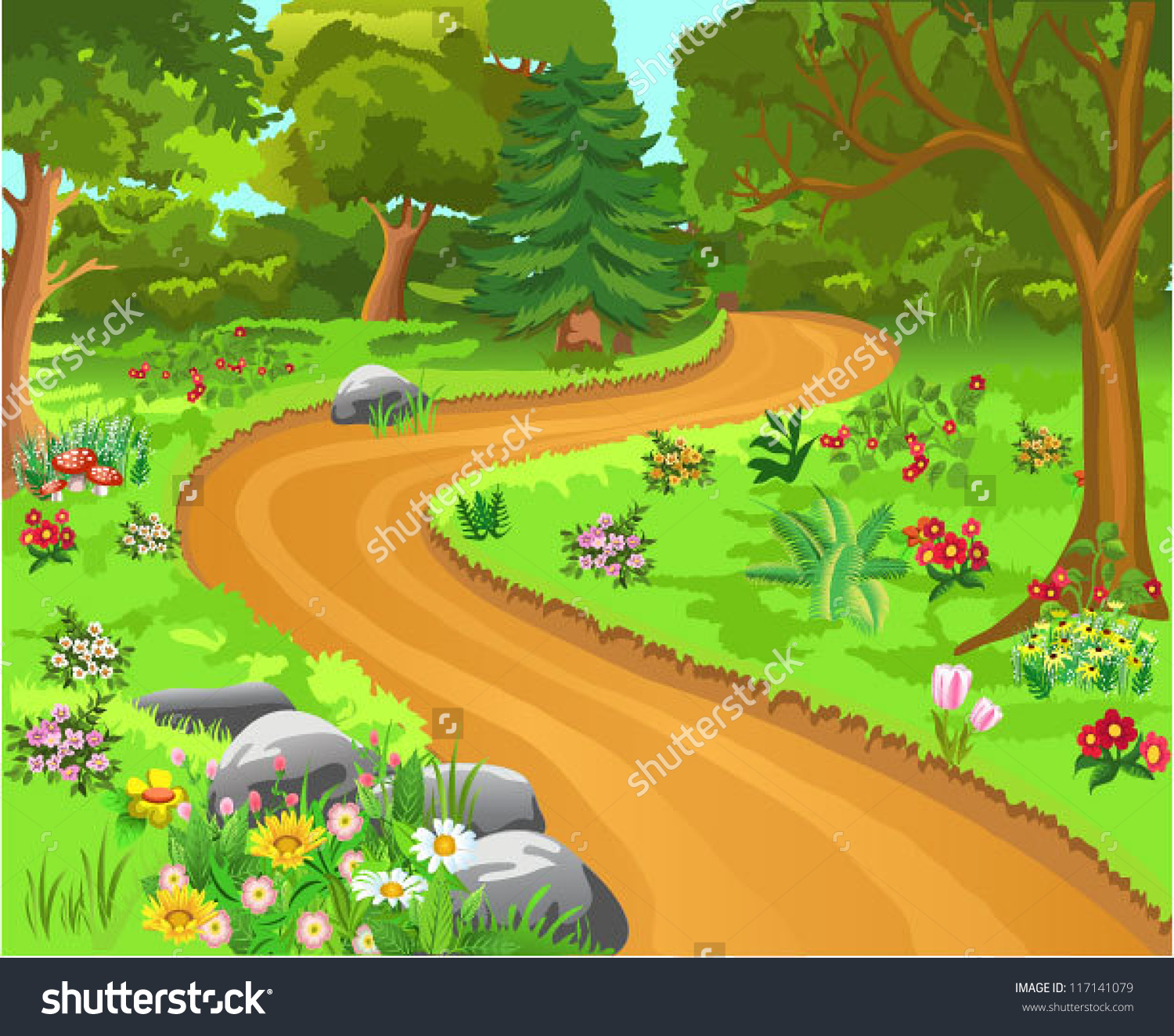 Park clipart forest tree With Tree With Clipart Path