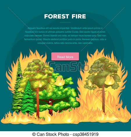 Disaster clipart fire smoke Forest trees in  fire
