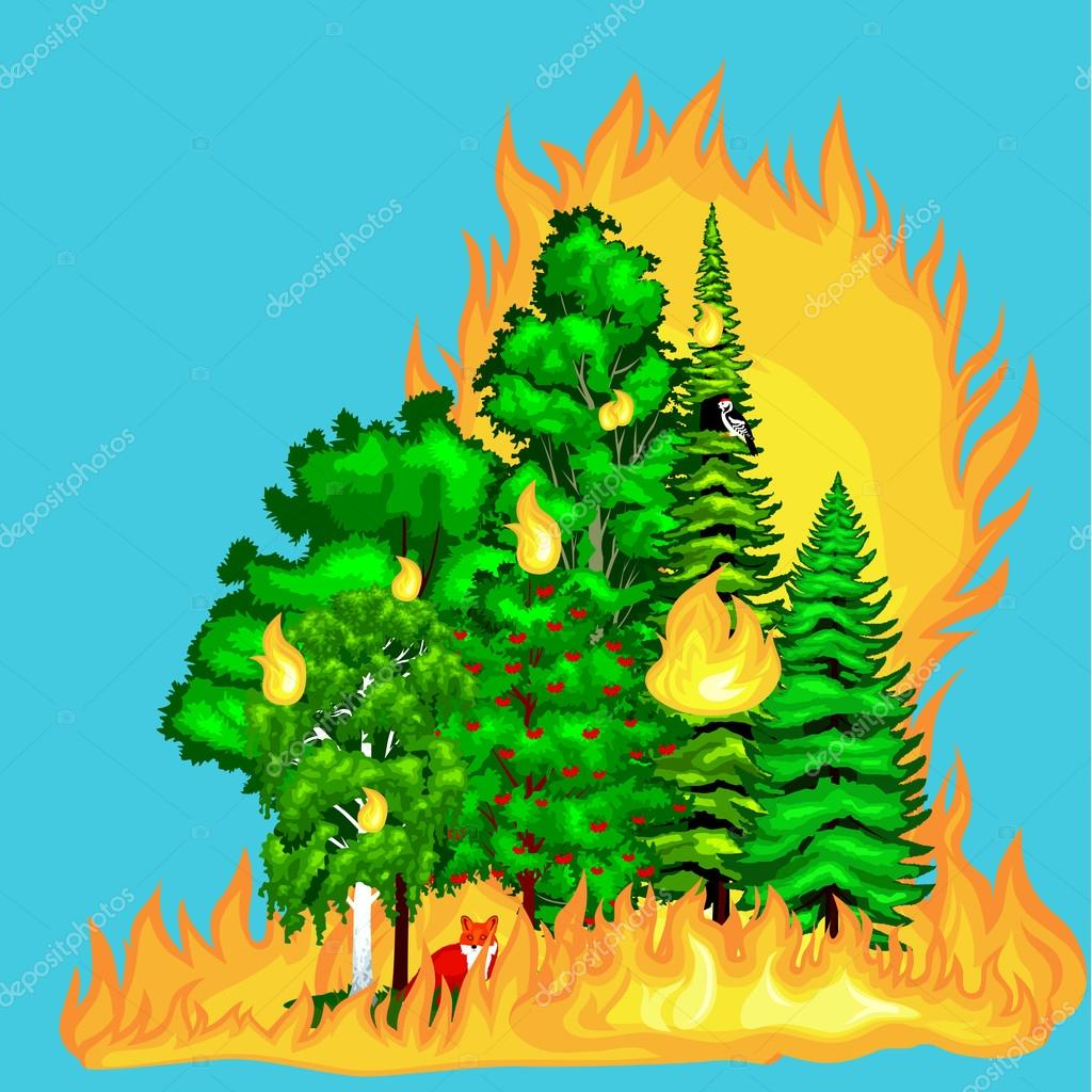 Disaster clipart fire smoke Forest trees nature damage burning