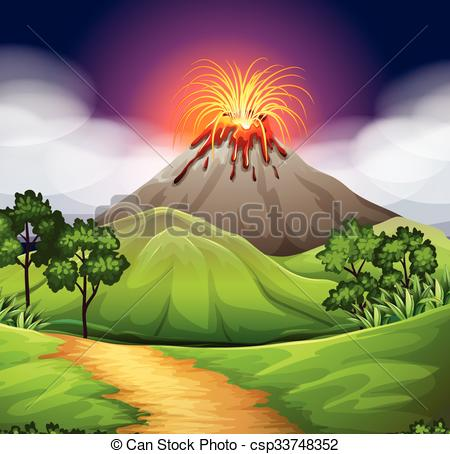 Disaster clipart volcano lava Volcano  scene a Eruption