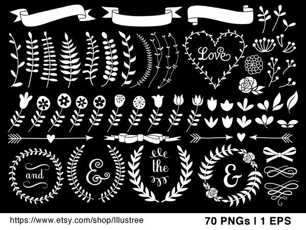 Disco clipart 70 flower Vintage art wreath roses clip