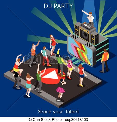 Disco clipart just dance Of DJ Dance Performance People