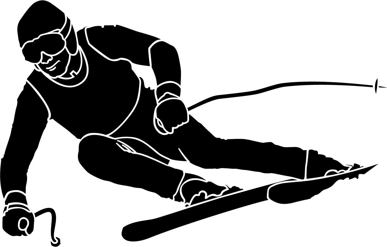 Skiing clipart black and white Ski Art Art Clip Clip