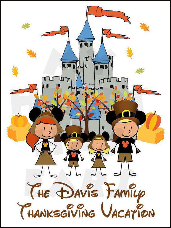Disneyland clipart florida vacation CHARACTERS art Castle Thanksgiving Family