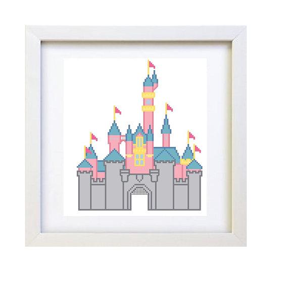 Disneyland clipart sleeping beauty castle Cross Stitch SALE Instant Stitch