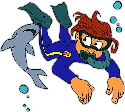 Diving clipart cartoon Scuba shark and Clipart Animations