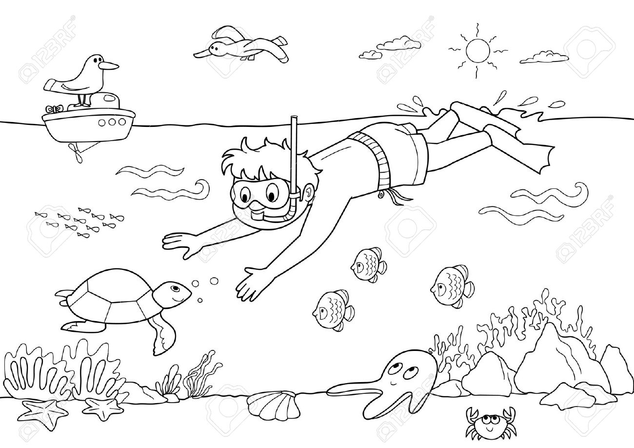 Diving clipart black and white Clipart Black Black Underwater Clipart
