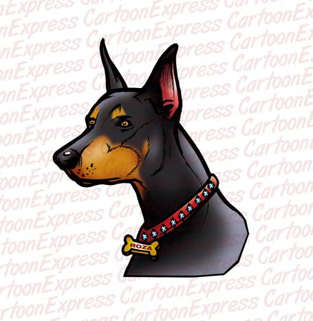 Doberman Pinscher clipart Doberman illustration dog vector cartoon