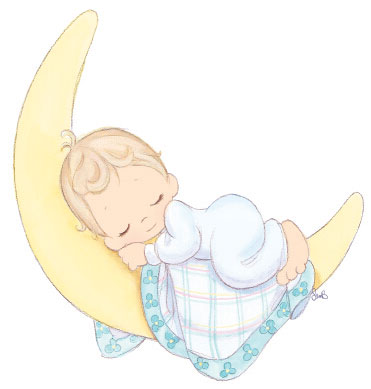 Baby clipart precious moment Crescent sleeping  for tags