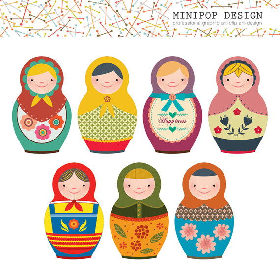 Doll clipart digital Printable Russian  Clip Doll