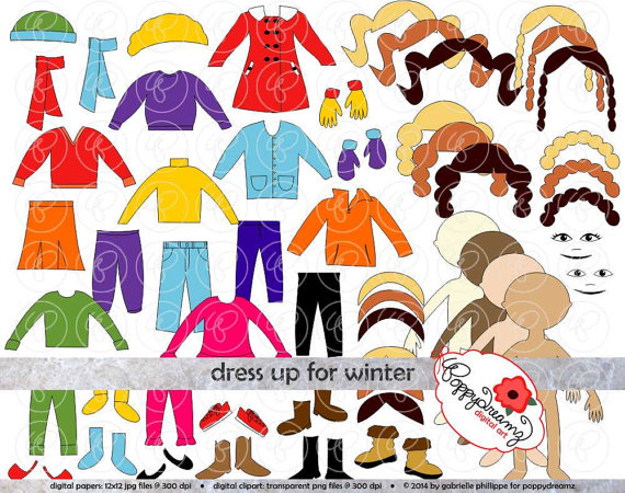 Doll clipart digital Set: Scarf Dress Set: Clothing