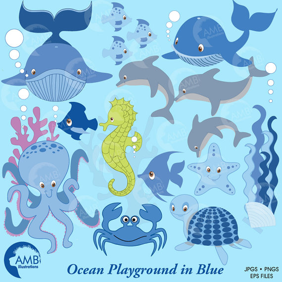 Blue Whale clipart blue starfish Studio Use AMBillustrations Clipart Starfish