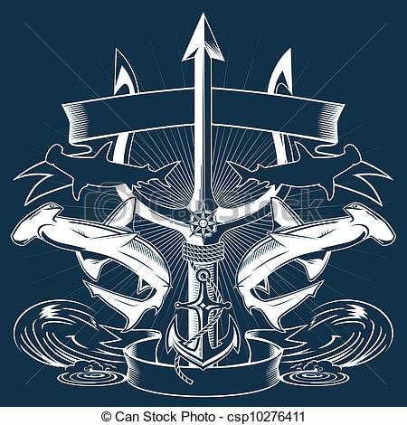 Drawn anchor trident Dolphin Clip Stock Lizenzfreie Symbol