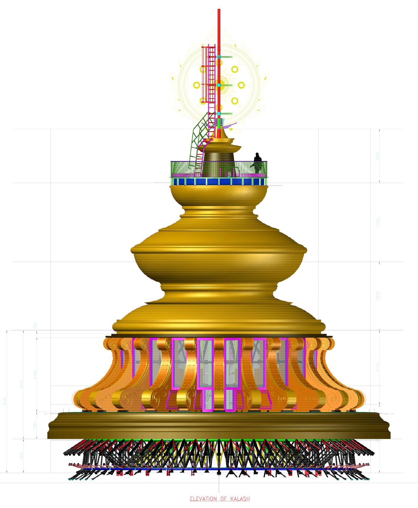 Structure clipart mandir A Kalash petal One Externally