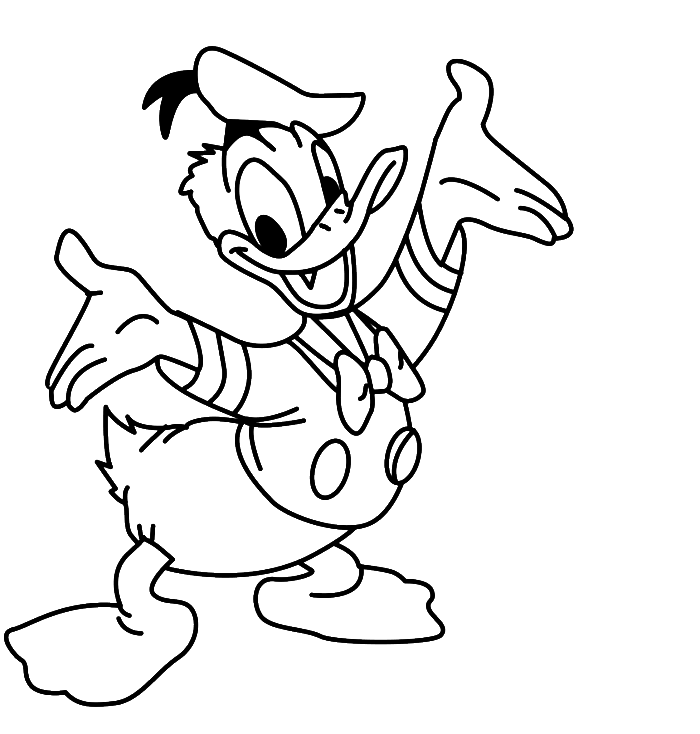 Donald Duck clipart coloring page Donald download and duck to