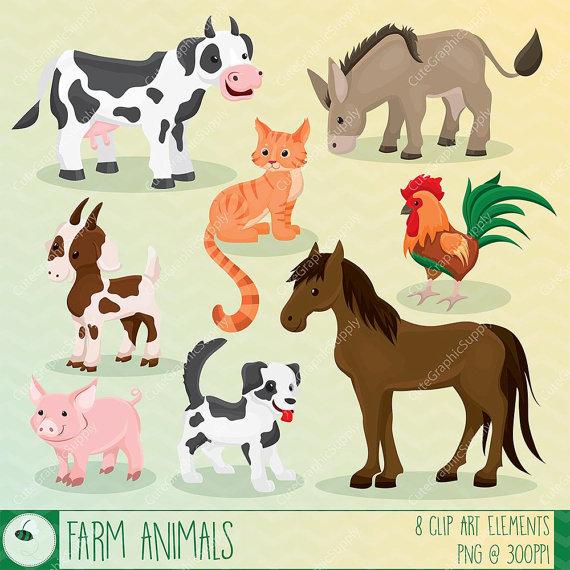 Cattle clipart barnyard animal Animal clipart clipart Il_570xn clip