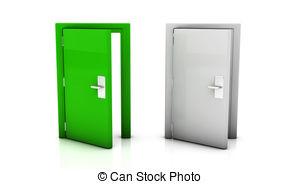 Open Door clipart green Open Single Illustration Two