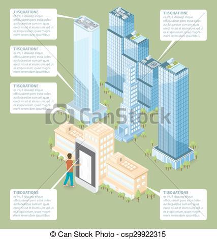 Door clipart office building 3d Vector Vector Isometric Building