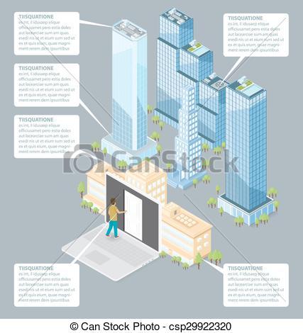 Door clipart office building Flat Vector 3d Office Building