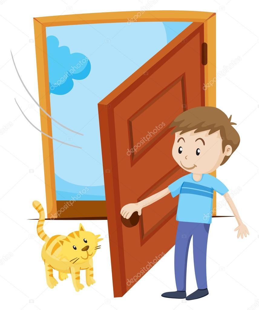 Door clipart puerta Pet — cat Vector the