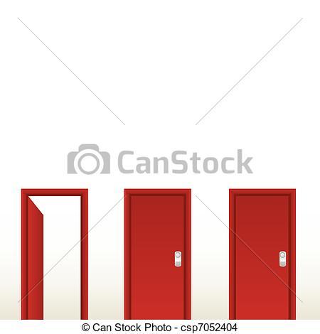 Door clipart red Csp7052404 Open Vector red solution
