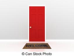 Door clipart red  door Red Stock Illustration
