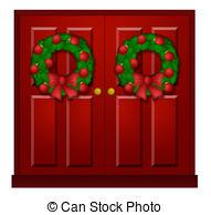 Door clipart red Door Red Christmas door 356