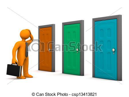 Door clipart sideways Businessman with Clip Orange Doors