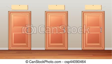 Door clipart three Wooden Vector  wooden hallway